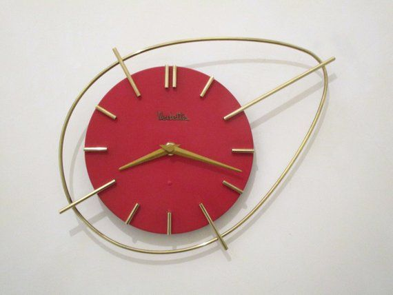 French Red 1950 60s Atomic Age Vedette Wall Clock Boomerang Etsy Mid Century Decor Modern House Atomic Age