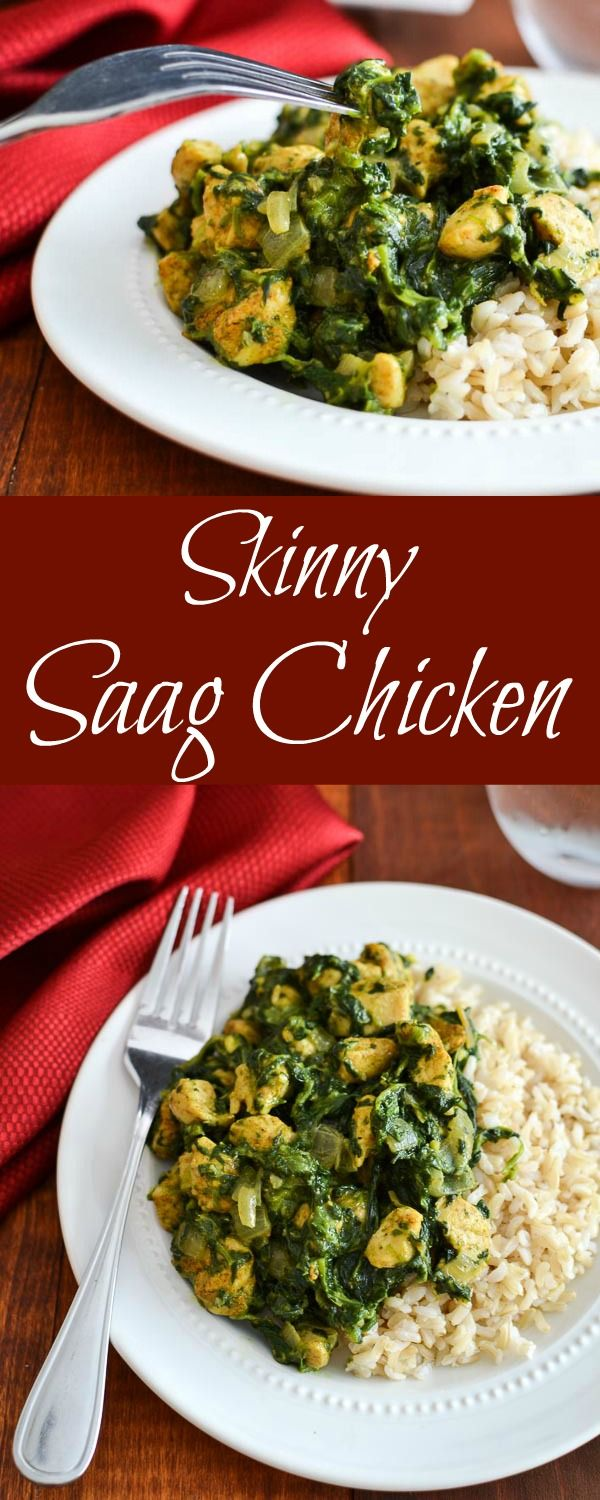 Skinny Saag Chicken - An easy and healthy curry recipe, the perfect thing to get out of a dinner rut! 21 Day Fix approved, too!