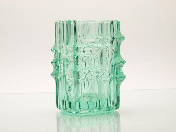 Vintage Bohemian Pressed Glass Vase by Vladislav by BetterLookBack