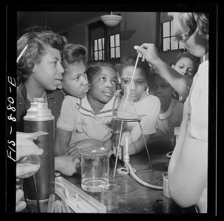 African-Americans began to take advantage of opportunities that hadn't been available to them previously. Here, children take park in a scie...