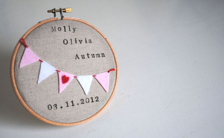 Custom Personalised Newborn Baby Girl Embroidery Hoop Wall Art  - Name, Date of Birth, Pink Bunting - Nursery Decor, New Baby Gift. £18.00, via Etsy.