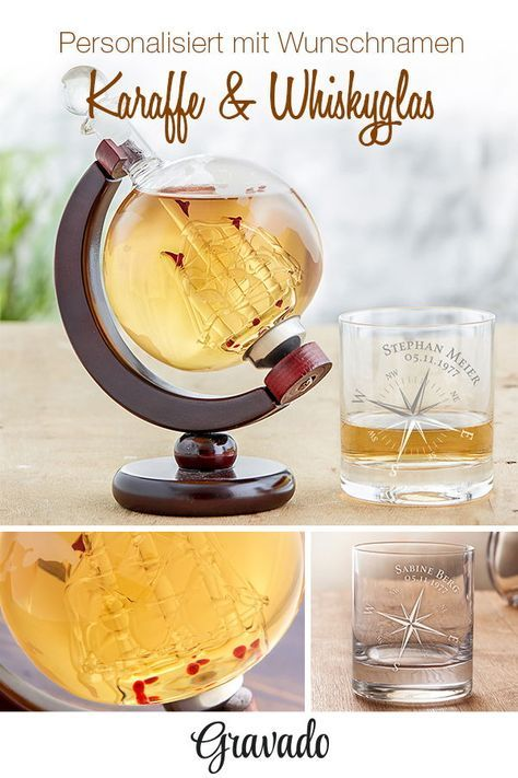 Whiskey Set – Carafe Globe and 2 Whiskey Glasses – Compass