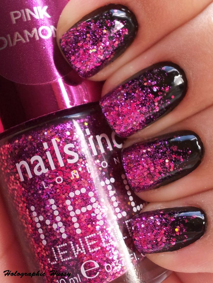 Black Nails with Pink Glitter Tips