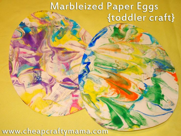 Marbleized paper eggs. Fun toddler Easter craft!