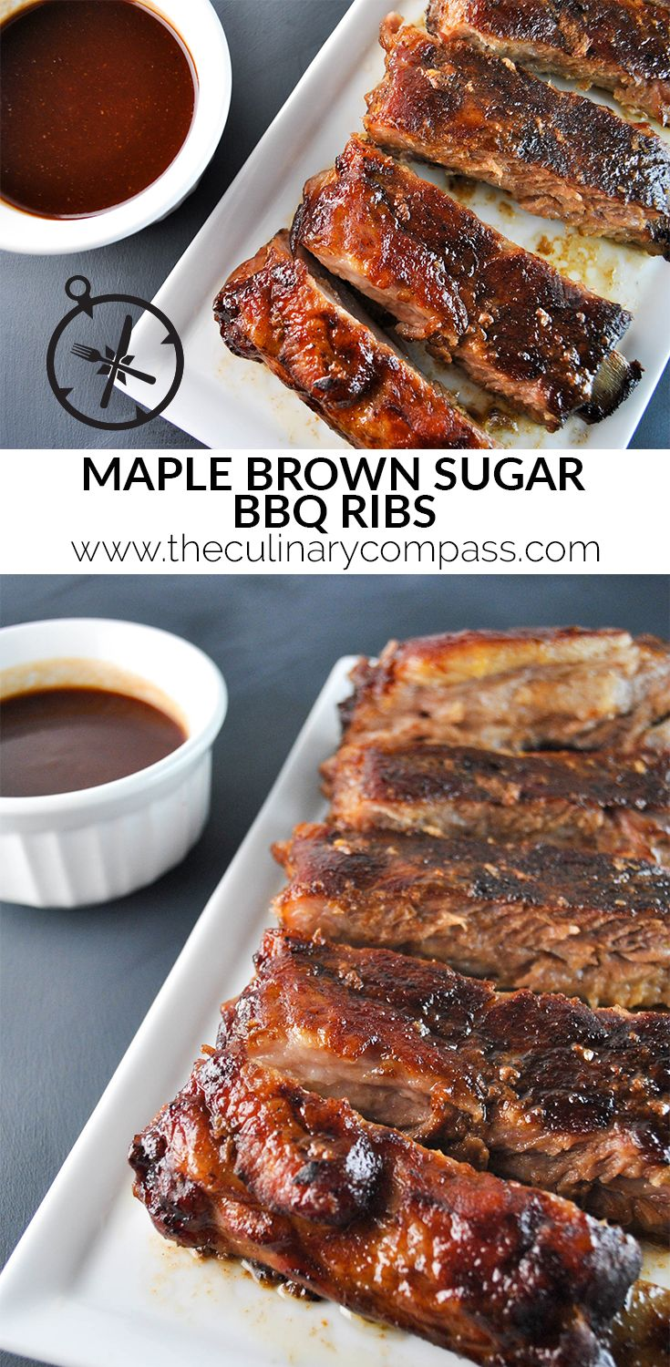 Maple Brown Sugar BBQ Ribs #TheCulinaryCompass www.theculinarycompass.com