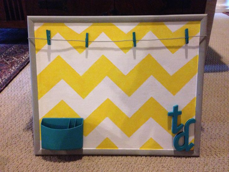 My first completed Pinterest craft! Chevron bulletin board for my dorm #timothydwight #dorm