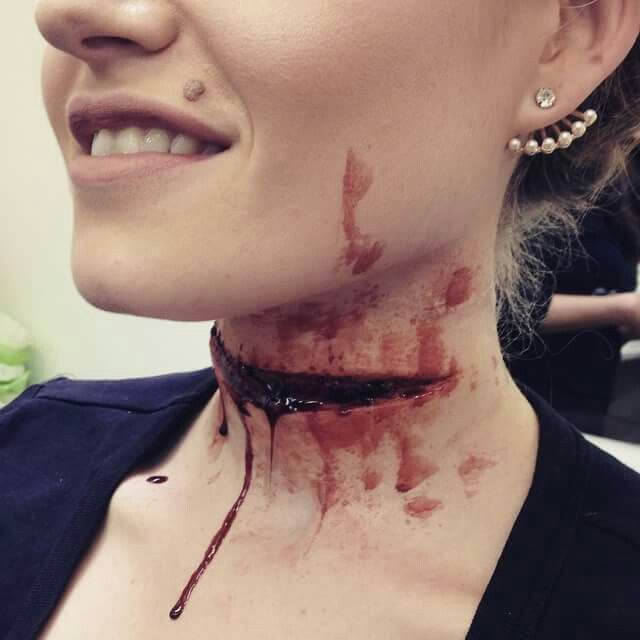 I like the way this slit throat looks. It looks incredibly realistic and really effective. To create this I would use sculpt gel because I think it would be the best product to use as it will move naturally with the neck.