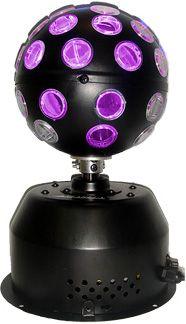 Bola Maluca Turbo LED RGB Starlux. 38 LEDs 3W, ~25 mil horas, 10m de raio, consumo 20W, base furada para fixação, 1m cabo de energia. R$ 219.90 em http://www.aririu.com.br/bola-maluca-rgb-turbo-led-3w-38-leds-coloridos-starlux_200xJM
