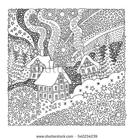 Fairy Tale Old Medieval Town House Fir Trees T Shirt Print Coloring Book Page For Adults And Children Christmas Card