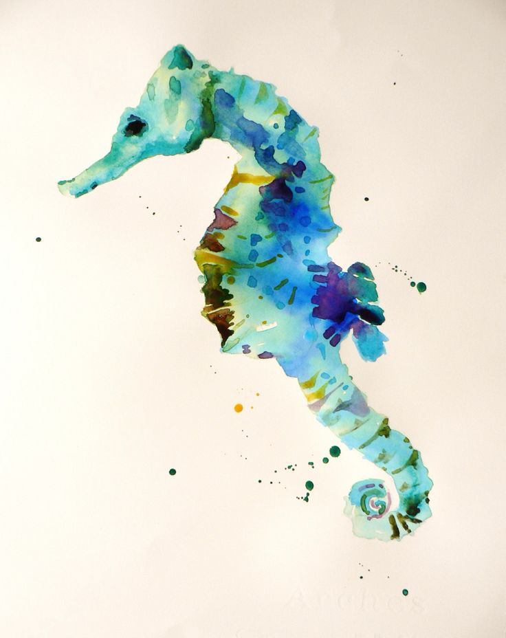 seahorse watercolor painting... great for a calming & beachy bathrm!