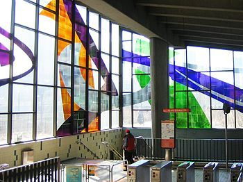 Abstract design by Marcelle Ferron at a Metro station in Montreal, Canada