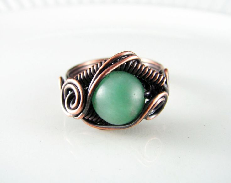 Wire Wrapped Ring Mint Green Amazonite Ring Size 8 Copper Ring Dragons Eye Ring Wire Wrapped Jewelry Copper Jewelry by PolymerPlayin on Etsy