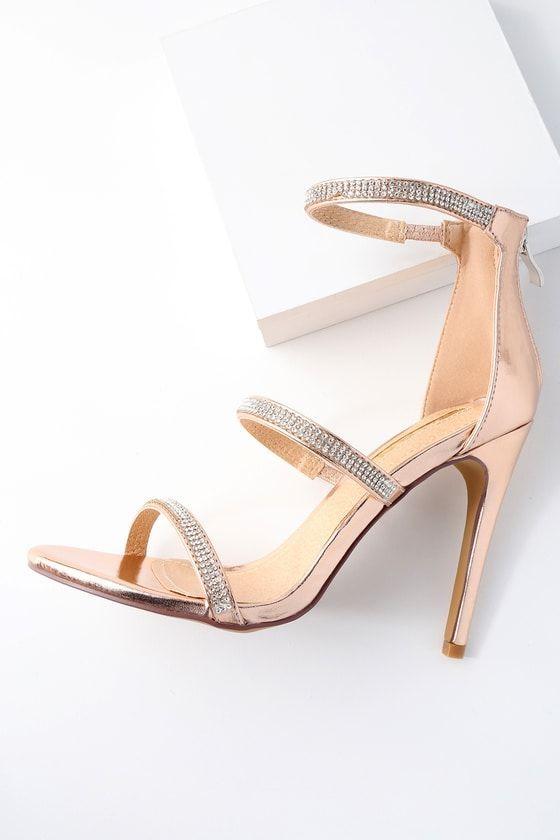 2ccf50a63f90 Aerin Rose Gold Rhinestone Ankle Strap Heels 6