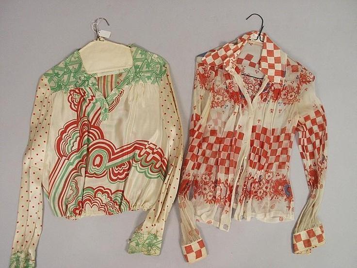 Two Ossie Clark w/Celia Birtwell print blouses