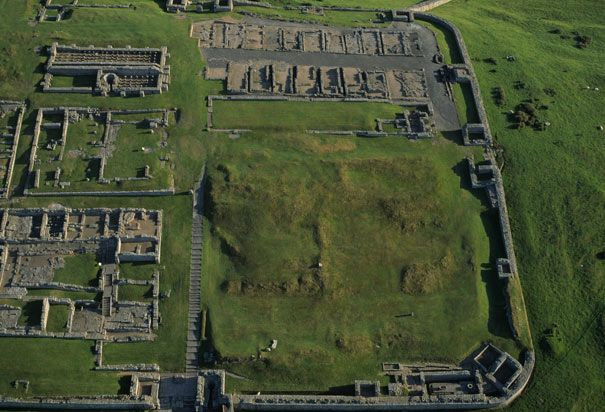 Roman Fort Ruins on Hadrian's Wall: Housestead . currently re-evaluating the field work on the hospital within the fort.