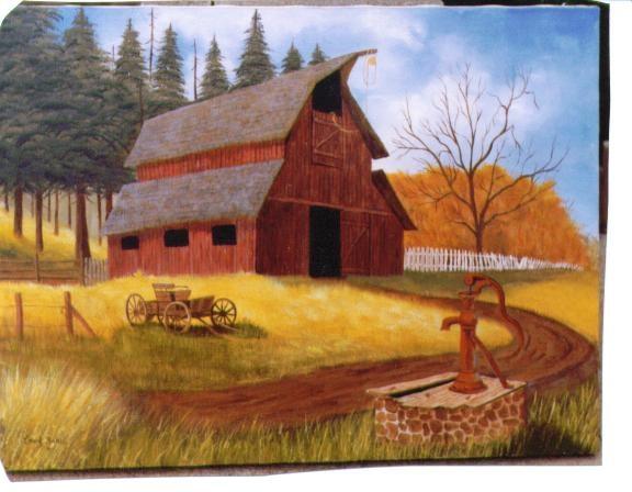 Old Barn and Pump by Carol Baker: Pump