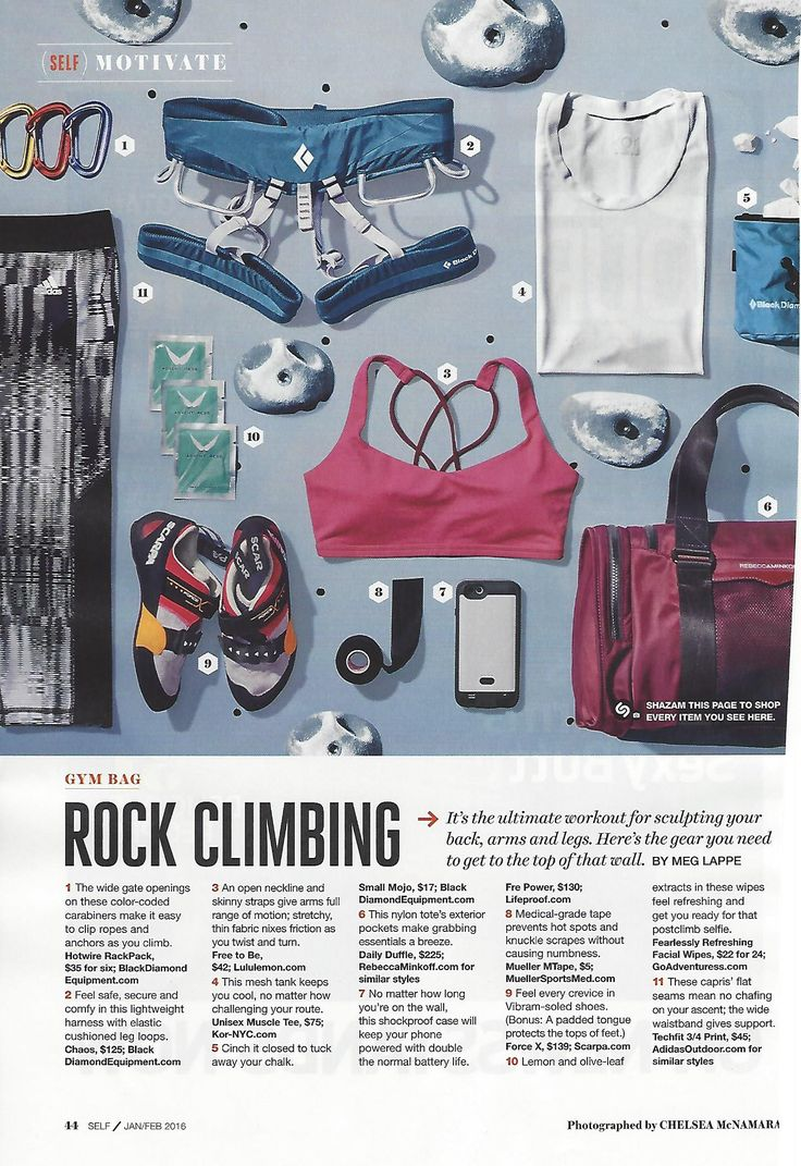 "A full page of rock climbing gear that gives me the ""I Wants!"" from @SELFmagazine"
