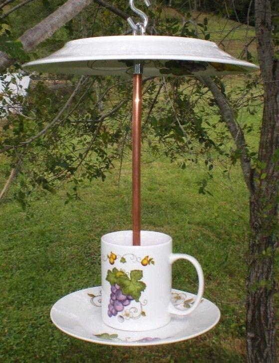 Backyard Swagger Meaning : Upcycled Tea Cup Bird Feeder Gardens Decor, Birds Feeders, Teas Cups