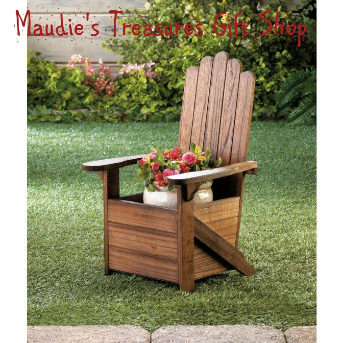 Wooden Adirondack Chair Planter #garden decor #planter #new #winter sale #gift ideas for Valentine's Day FREE SHIPPING on $50.00 or more order.