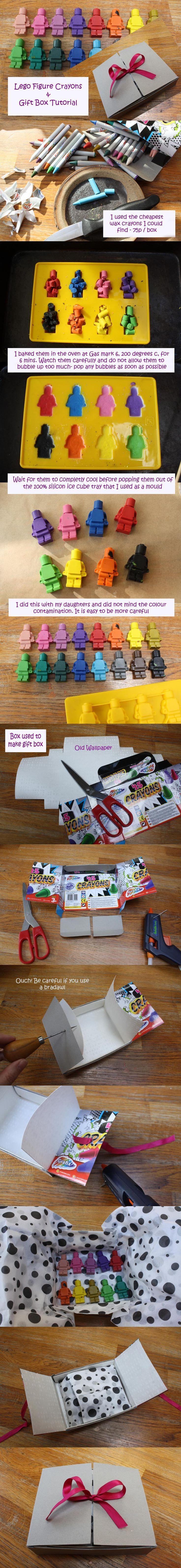 DIY Legomännchen-Wachsmalkreiden. Das geht auch super mit Wachsmalstifte-Resten! // Tutorial #kids: