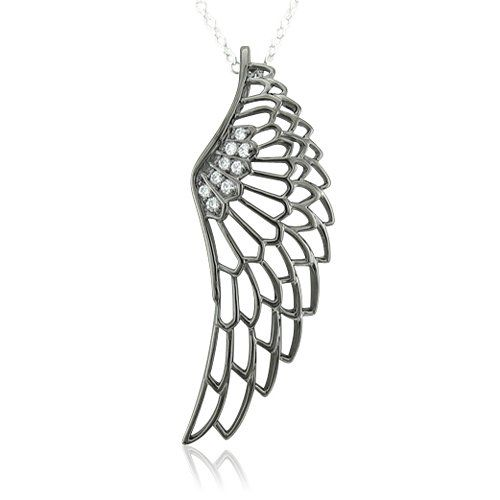 0.10 carat Black Angel Feather Wing White Diamond Pendant Necklace In Sterling Silver