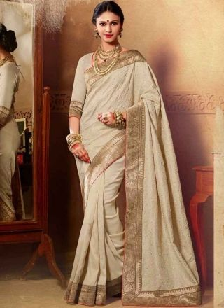 Blooming Beige Silk Embroidery Work Party Wear Sarees #Sarees #Designer  http://www.angelnx.com/Sarees