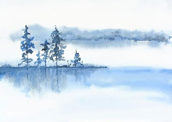 Blue Grey White Wall Art Watercolor Print, Spa Decor, Misty Morning Landscape Decor, Fog Water Watercolor Painting, Relaxing Art Print, Lake