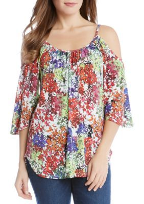 Karen Kane Women's Cold Shoulder Top - Floral Print - Xs