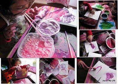 Bubble painting: Paintings Art, Art Soaps, Soaps Bubbles, Bubbles Art, Paintings Party, Bubbles Paintings, Kids Art, Art Projects, Easy Kids