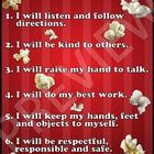 "This popcorn themed classroom rules sign is 8.5"" x 11"" and has 6 rules...."
