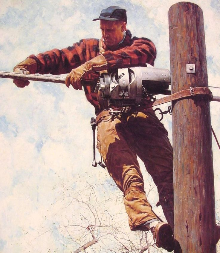 NR: The Lineman, 1949. (I have 5 relatives in my family, my father's side and my husband's side, who are linemen and city electricians.)