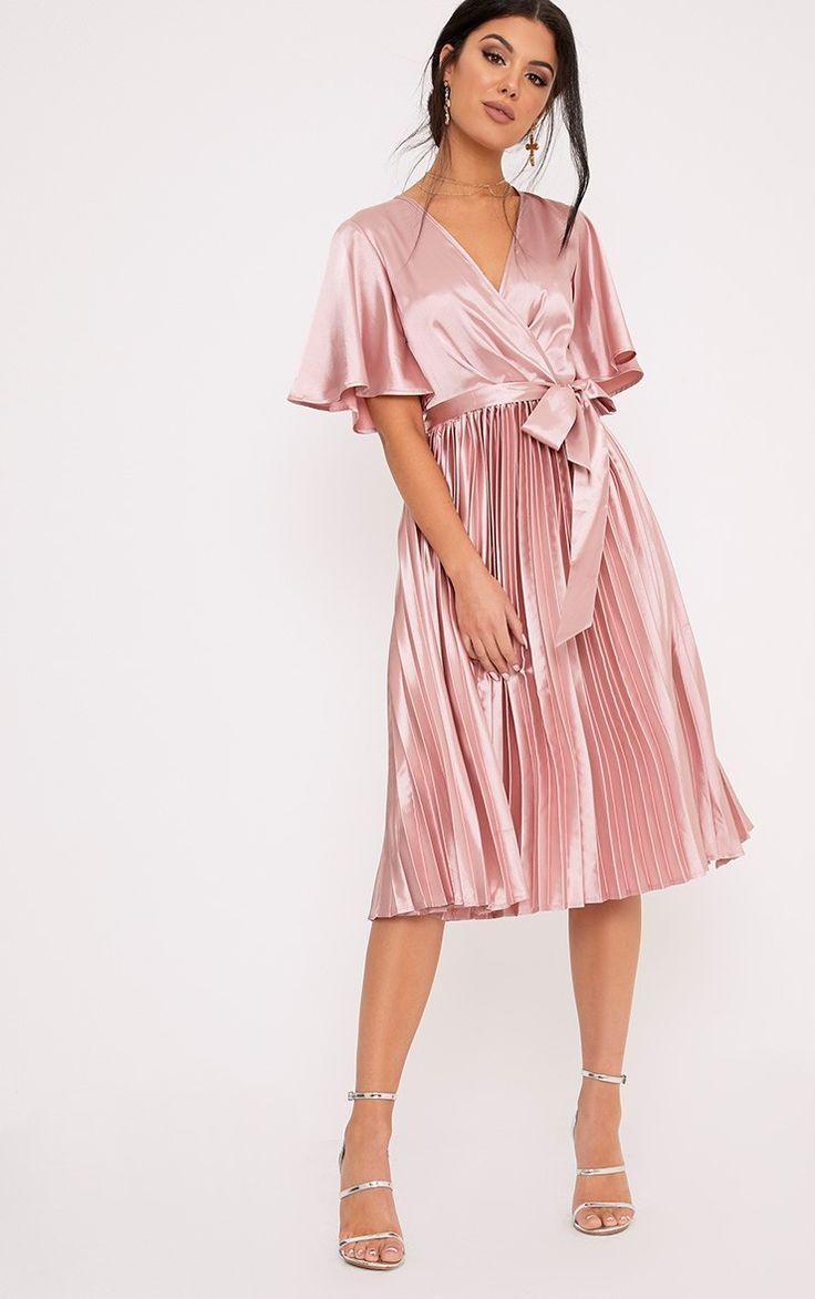 Mairee Dusty Pink Satin Pleated Midi Dress Image 1
