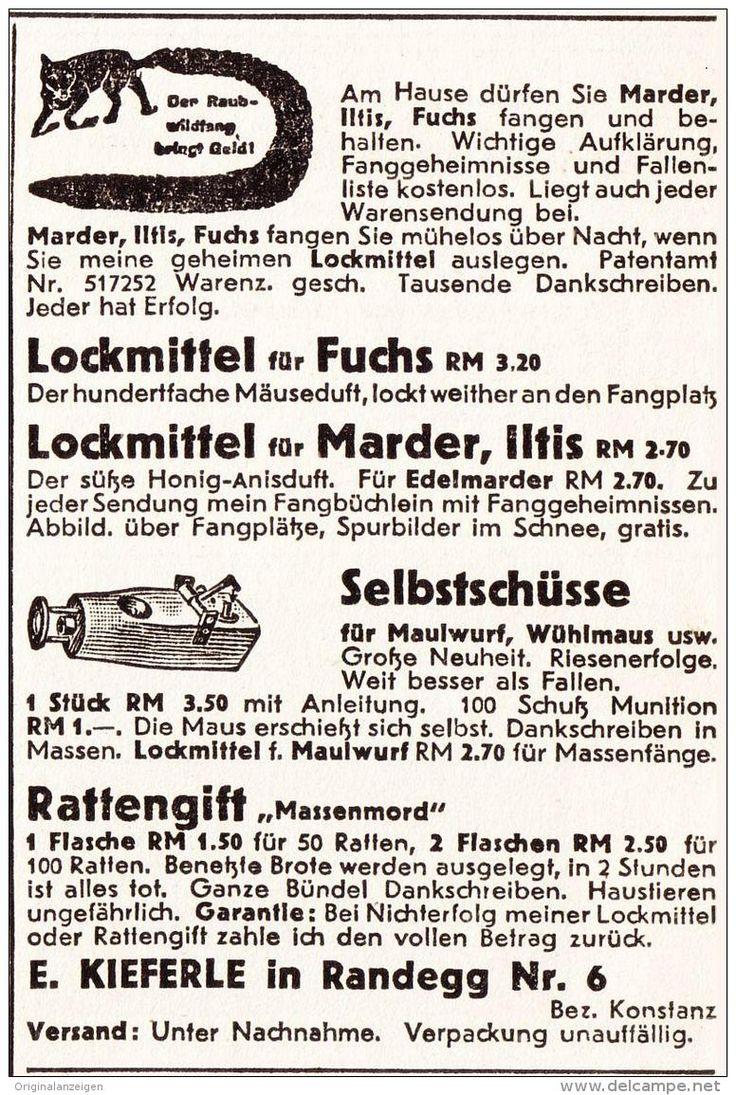 Original-Werbung/ Anzeige 1941 - LOCKMITTEL FÜR MARDER / ILTIS / FUCHS /KIEFERLE - RANDEGG - ca. 60 x 100 mm