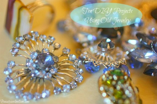 Ten DIY Projects using Vintage Jewelry. So many fun and ideas via @Jen (Balancing Beauty and Bedlam blog