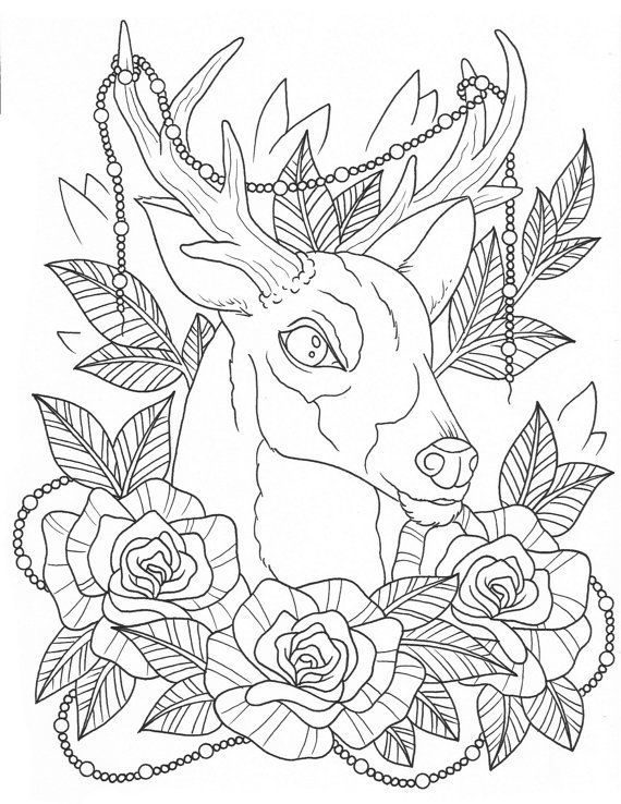 Deer Tattoo Coloring Page Digital Download
