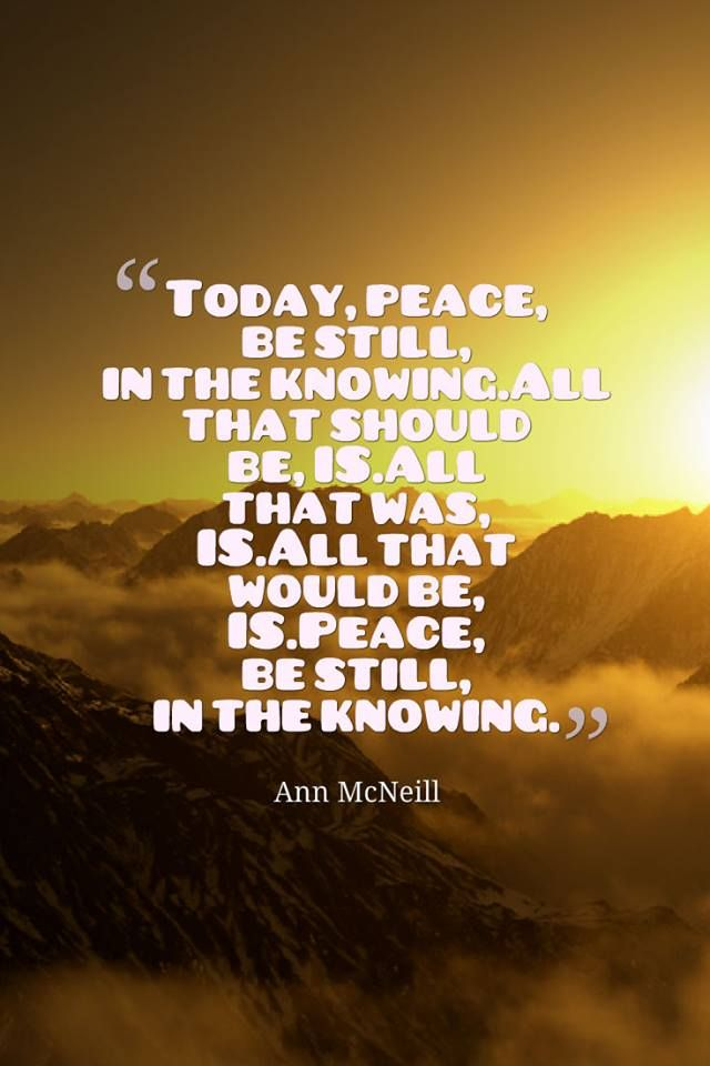 Today, peace, be still, in the knowing. All that should be, IS. All that was, IS. All that would be, IS. Peace, be still, in the knowing. #mcneillism ww.annmcneill.com