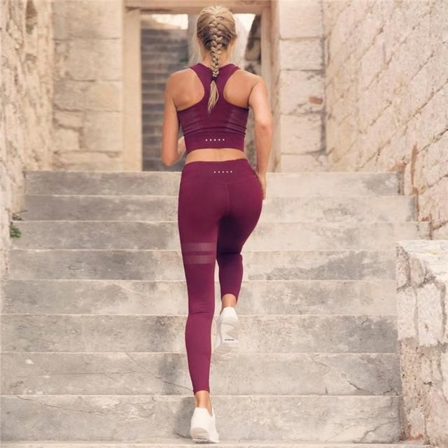 8f3873eb8e166 ZELLY New Fashion Women High Waist Workout Leggings Sportswear Two Piece  Set Suits Fitness Crop Top Slimming Push Up Suits Women