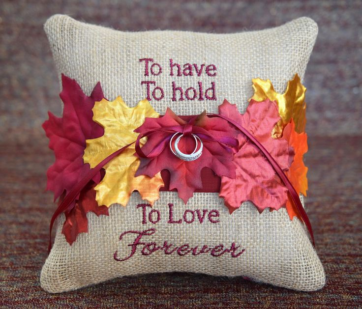 To Have, To Hold, To Love Forever, Burlap  Fall Metallic Leaves Autumn Wedding Ring Bearer Pillow