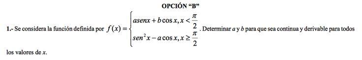 Ejercicio 1B 2000-2001 Setiembre. Propuesto en examen pau de Canarias. Matemática. Continuidad, derivabilidad y representación de funciones. Límites.