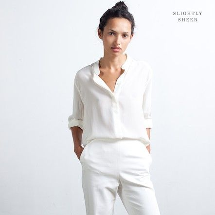 Silk Blouse - Band Collar $80 https://www.everlane.com/collections/womens-all/products/silk-band-white