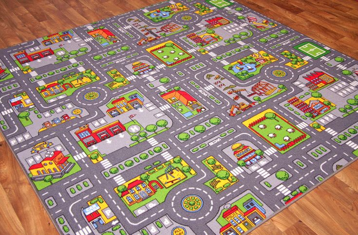 Toy Road Carpet For Cars Large Kids Play Village Rug