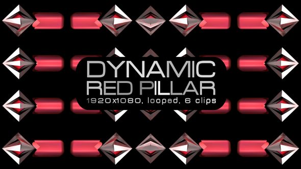 Dynamic Red Pillar Video Animation | 6 clips | Full HD 1920×1080 | Looped | H.264 | Can use for VJ, club, music perfomance, party, concert, presentation | #3d #abstract #box #cube #dance #disco #dynamic #glossy #loops #party #pattern #slow #spin #spinning #vj