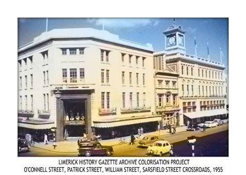 LIMERICK HISTORY GAZETTE ARCHIVE COLORISATION PROJECT: O'CONNELL STREET, PATRICK STREET, WILLIAM STREET, SARSFIELD STREET CROSSROADS, C.1955
