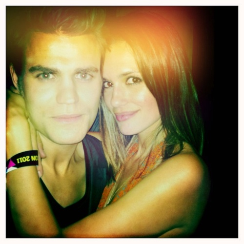 Torrey Devitto & Paul Wesley; cute married couple, on the set of The Vampire Diaries.