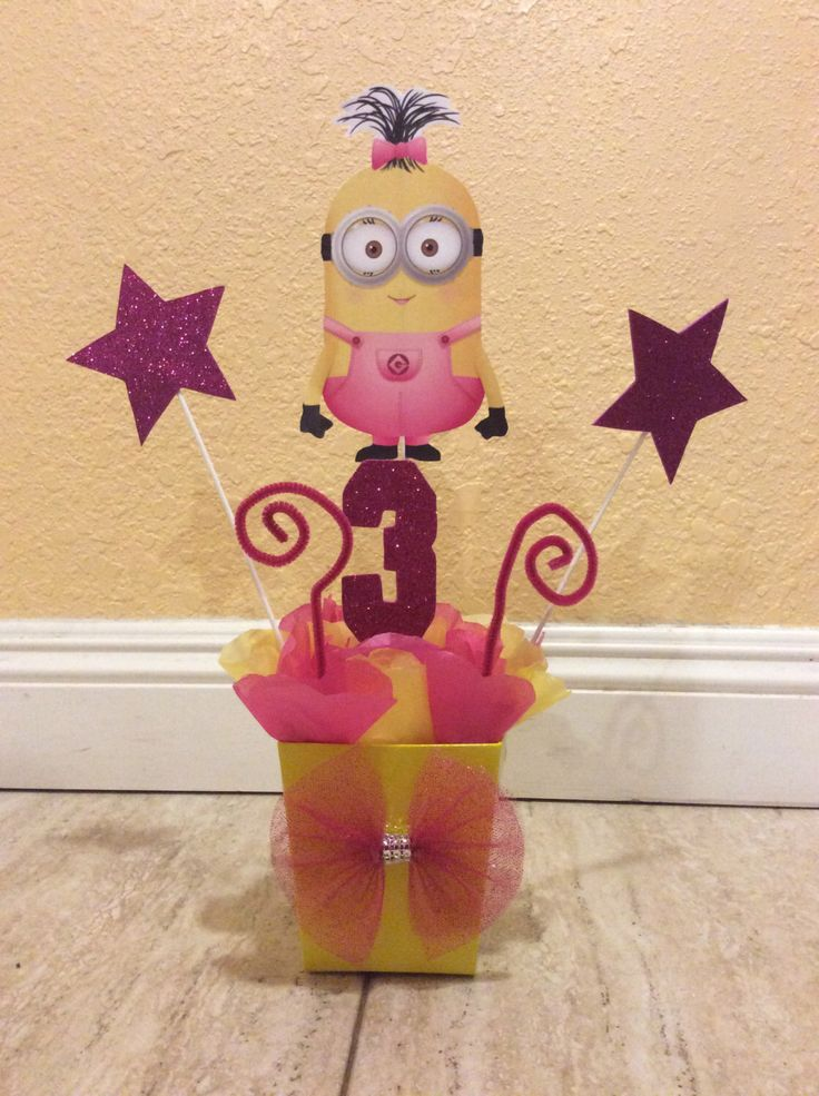 Girl Minion Birthday Party Centerpiece by FantastikCreations on Etsy https://www.etsy.com/listing/244384159/girl-minion-birthday-party-centerpiece