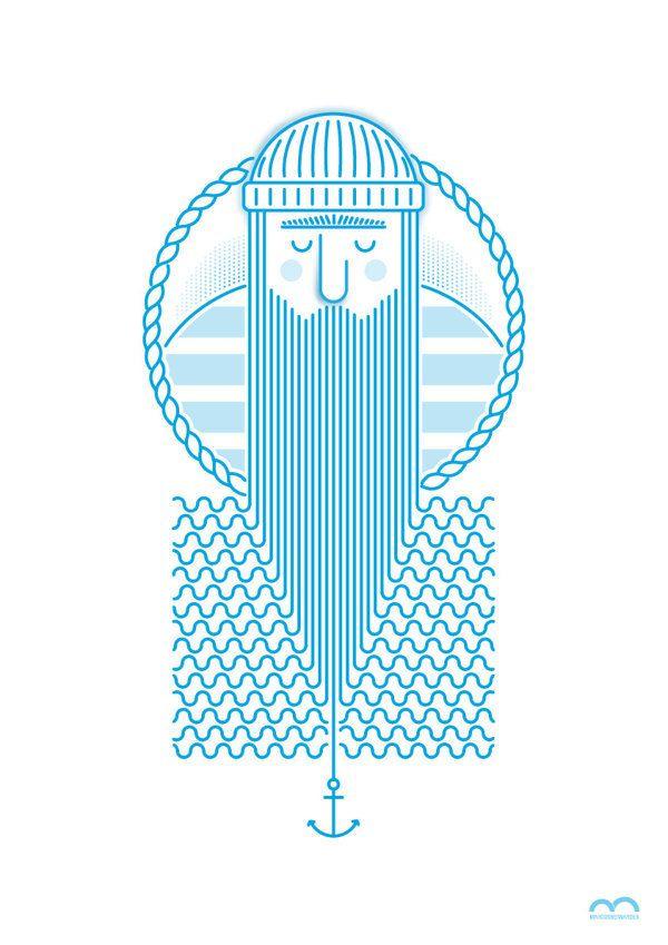 mariner / nautical illustration style, pattern, vector, line
