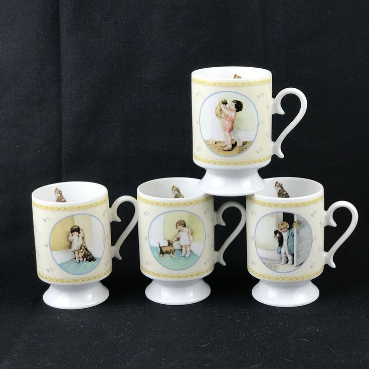 Bessie Pease Gutmann Pedestal Mugs Set 4 Reward Good Morning Disgrace Mine 1987  #HamiltonGifts