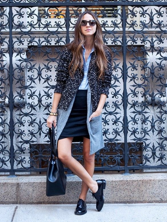 Experiment with different lengths and textures to pull this essential fall look together.