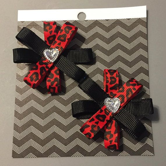 Red & Black Leopard Hair Bow Set Hair Bows by CleverCreationsByMe