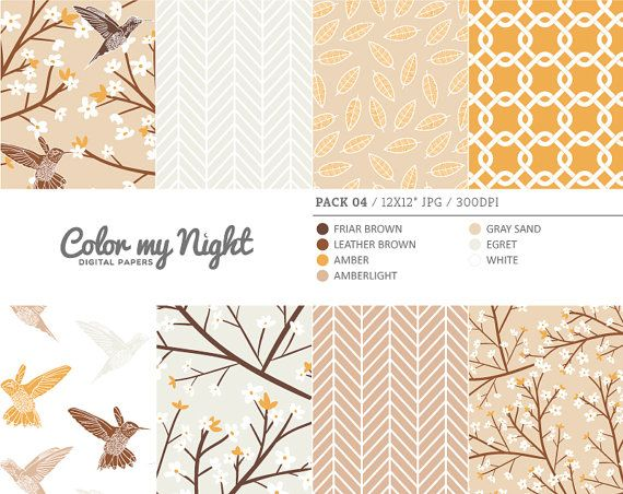 Digital Paper Brown 'Pack04' Blossom Flowers by ColorMyNight